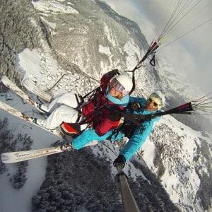 parapente ski clusaz